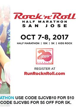 San Jose Rock 'n' Roll Half Marathon use code SJCVB10 for $10 off half marathon and 10K, use code SJCVB5 for $5 off for 5K.link