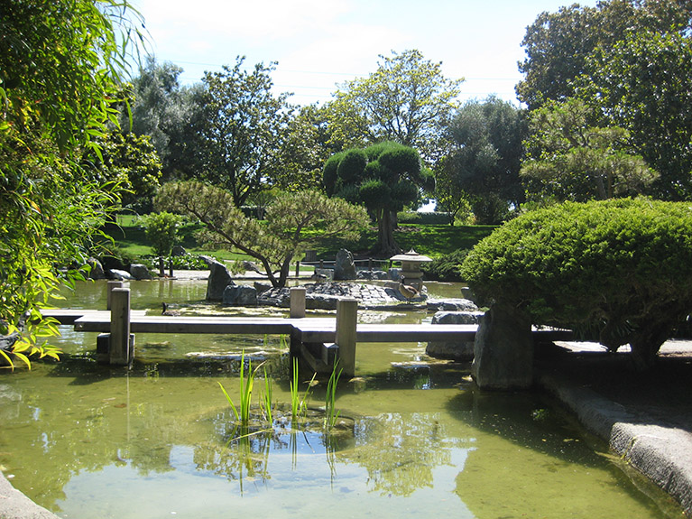 Japanese gardens and floating bridge