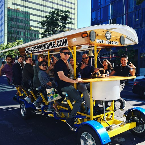 Pedal with friends from breweries to bars with San Jose Brew Bike.