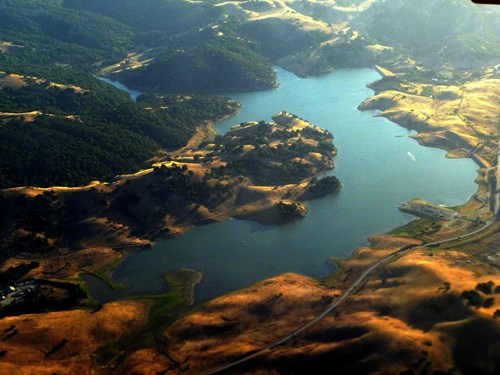 Aerial view of Calero Reservoir