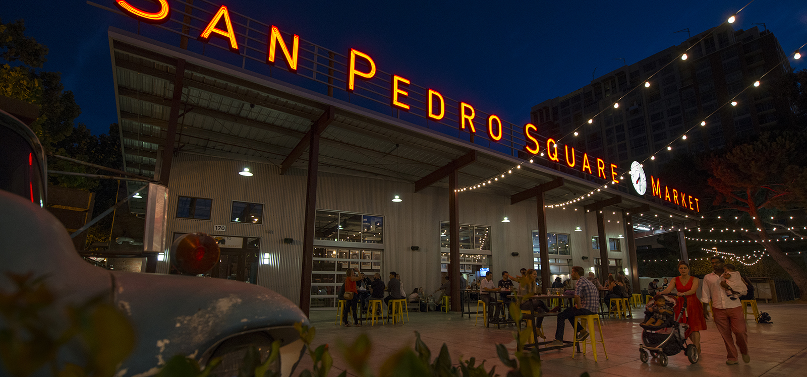 San Pedro Square Market Sign in the evening
