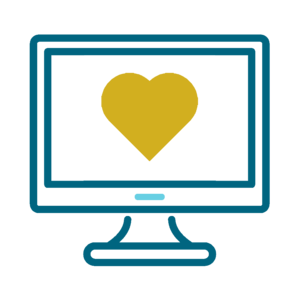 Computer with Golden Heart