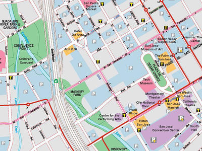 Downtown area and Public Transportation map
