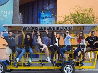 A group having fun on the San Jose Brew Bike tour.
