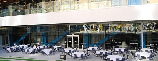 Set for a lunch outside of the lower level on the patio of the San Jose Convention Center