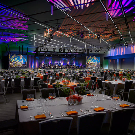 Grand Ballroom at the San Jose Convention Center set for a sit down dinner event