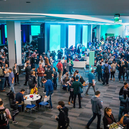 An event taking place inside the lower level at the San Jose Convention Center