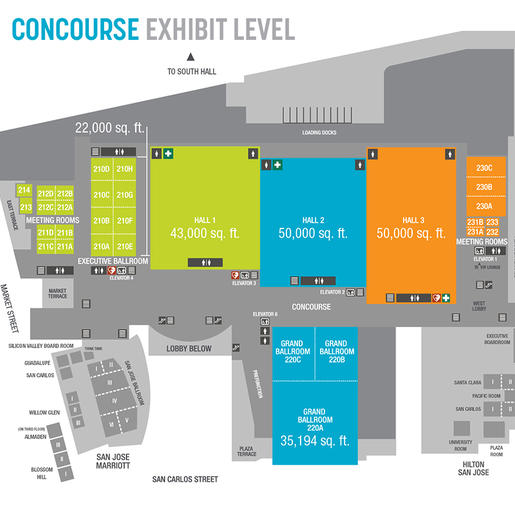 Floorplan and room specifications chart of the San Jose McEnery Convention Center Upper Level