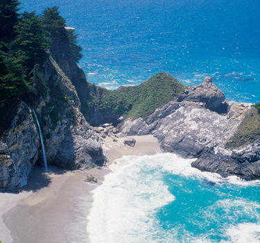 A breathtaking view looking down at McWay Falls in Julia Pfeiffer Burns State Park