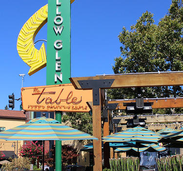 A view of the renovated historic Willow Glen sign on Lincoln Avenue at The Table restaurant on Lincoln, the main drag.