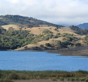 A look at the Calero Reservoir and foothills of Almaden Valley