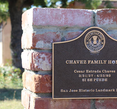 Cesar Chavez's home in San Jose featuring a plaque, San Jose Historic Landmark #98