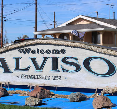 Welcome to Alviso sign