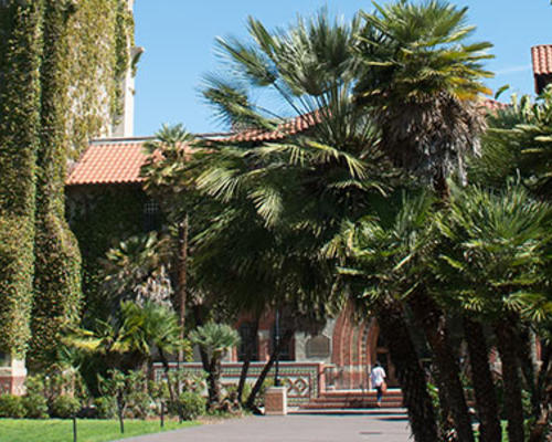 San Jose State University campus and historic building and garden
