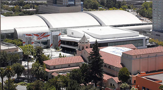 Aerial view of Tech Museum and San Jose Convention Center