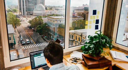 View of a San Jose street from a corner office window.