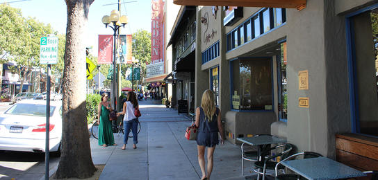 A view down Lincoln, Willow Glen's main drag, showing Aqui and the historic Garden Theatre sign.