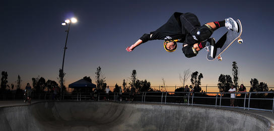 Skater doing tricks during night skating at Lake Cunningham Skate Park
