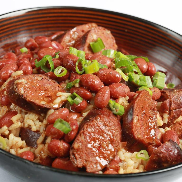 Rice, meat, and beans