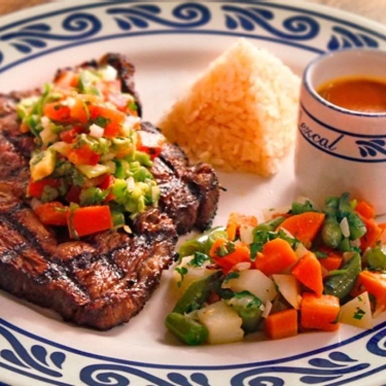 Steak, rice, and vegetables