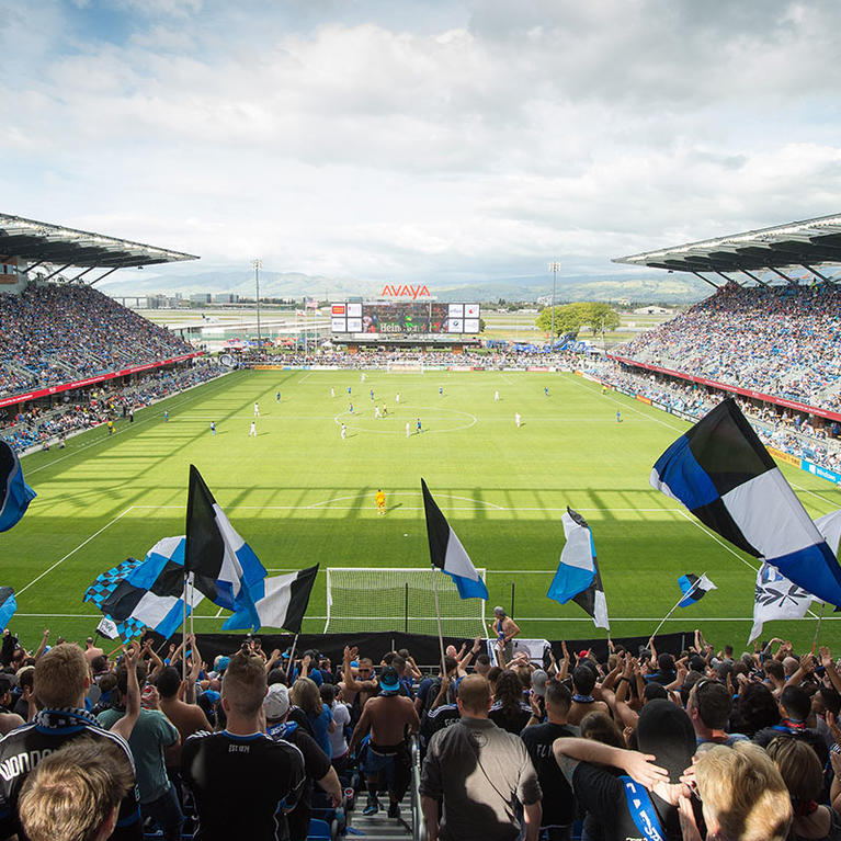 Crowds cheering on the San Jose Earthquakes at Avaya Stadium