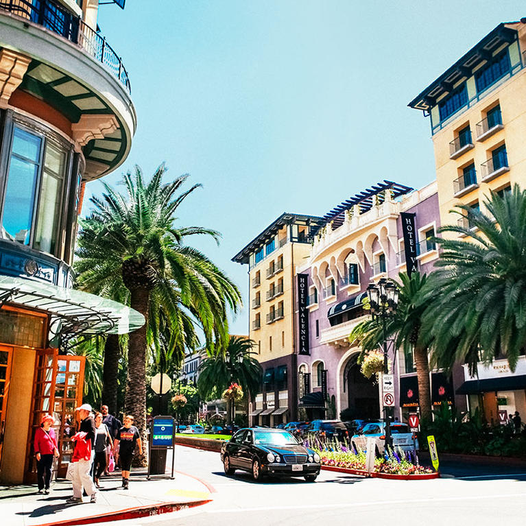 Hotel Valencia at Santana Row on a sunny California day