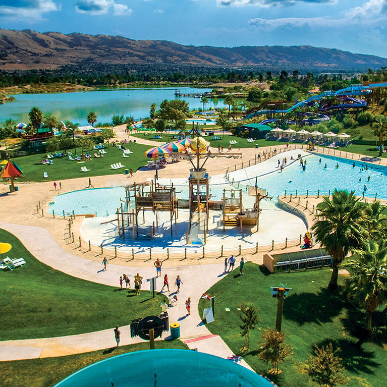 Overlooking Raging Waters waterslide park and Lake Cunningham
