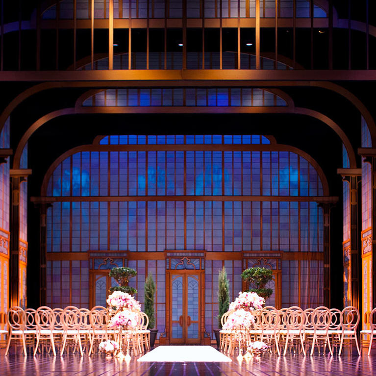 California Theatre wedding set on stage