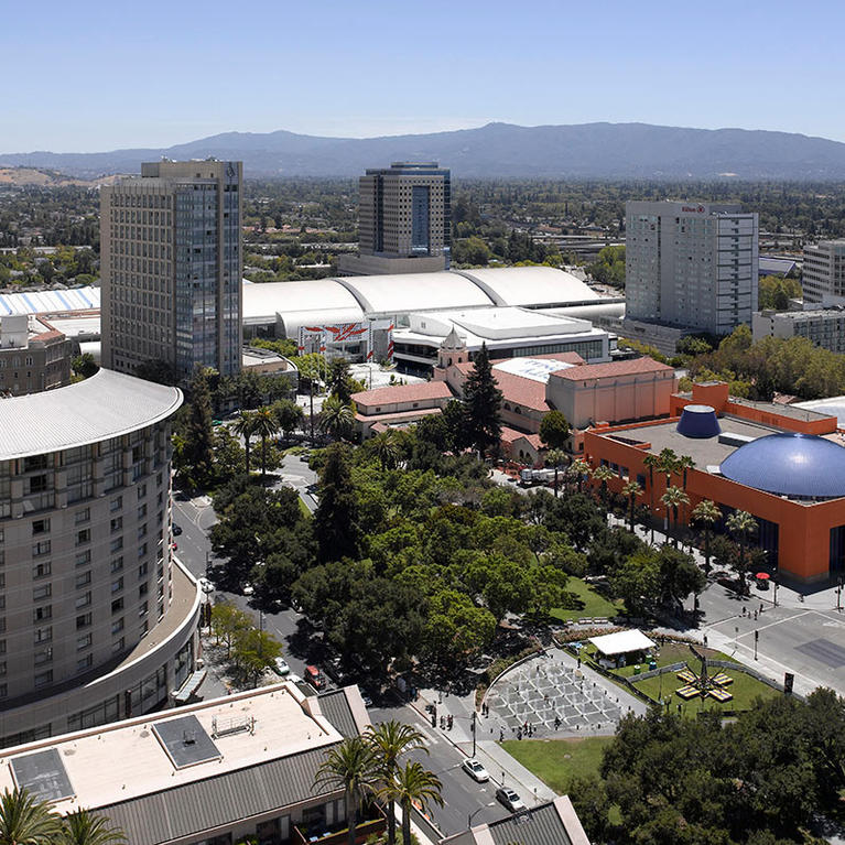 San Jose McEnery Convention Center over Cesar Chavez Park