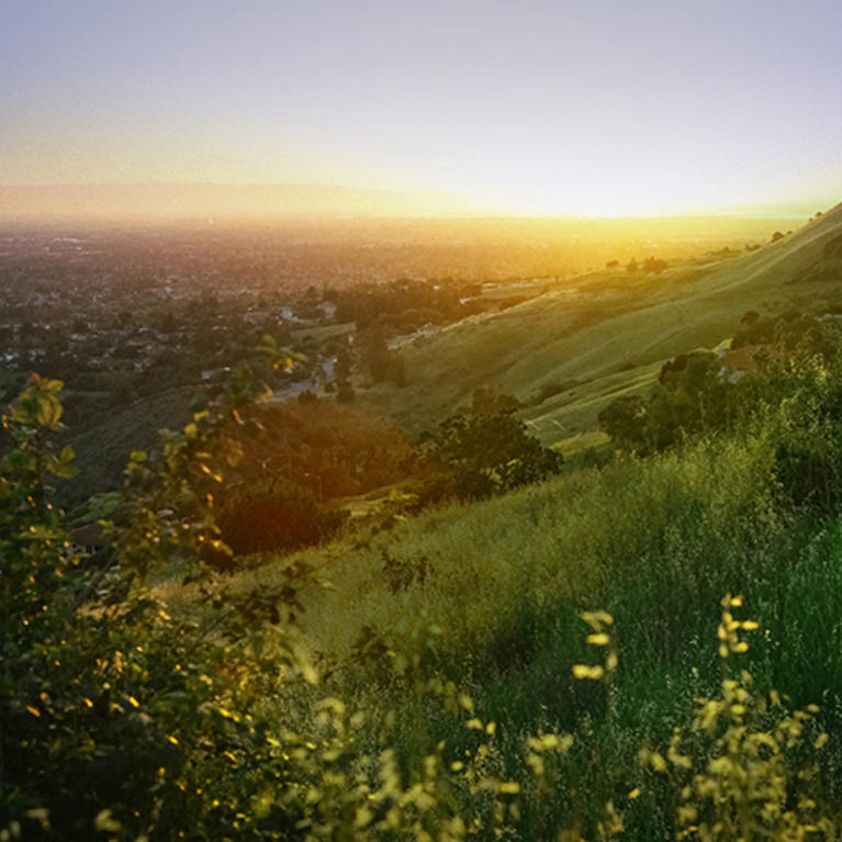sunset view of San Jose on a trail at Alum Rock Park