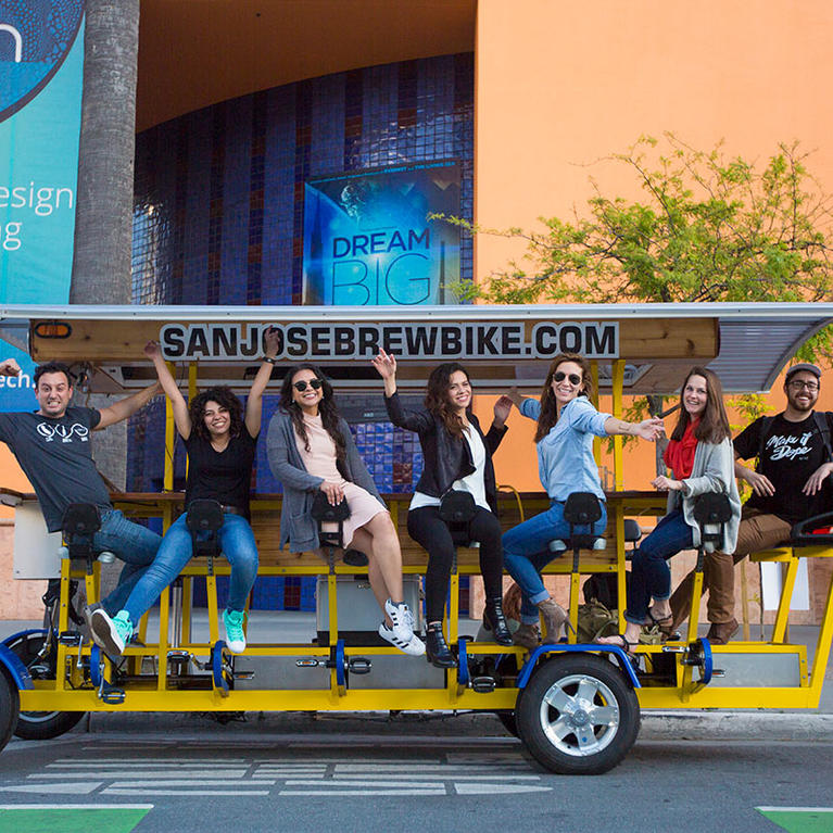 People on the San Jose Brew Bike