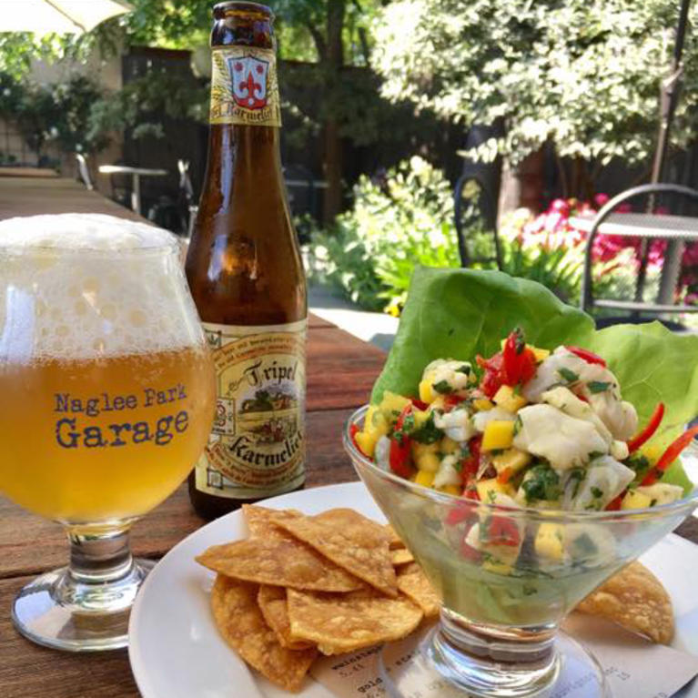 Ceviche and beers on the patio of Naglee Park Garage in San Jose