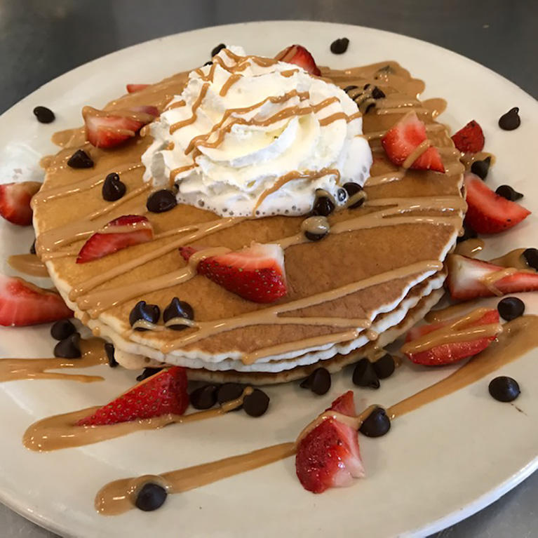 Strawberry and chocolate chip pancakes at City Diner in South San Jose