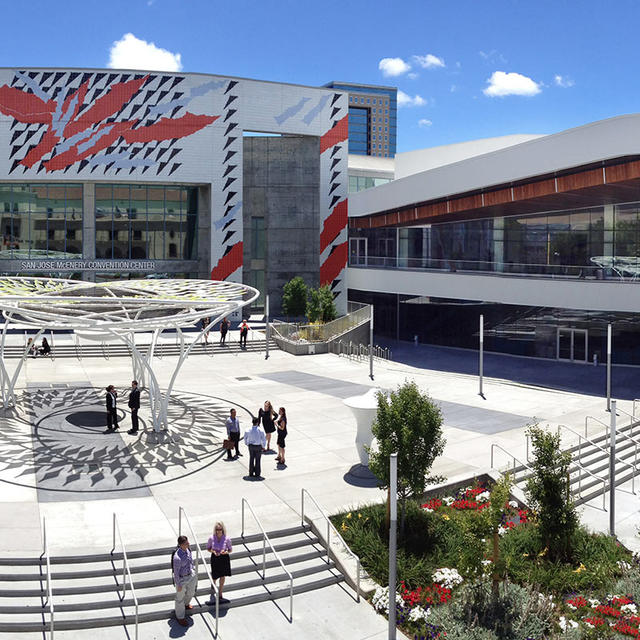 The outside patio and main entrance of the San Jose McEnery Convention Center