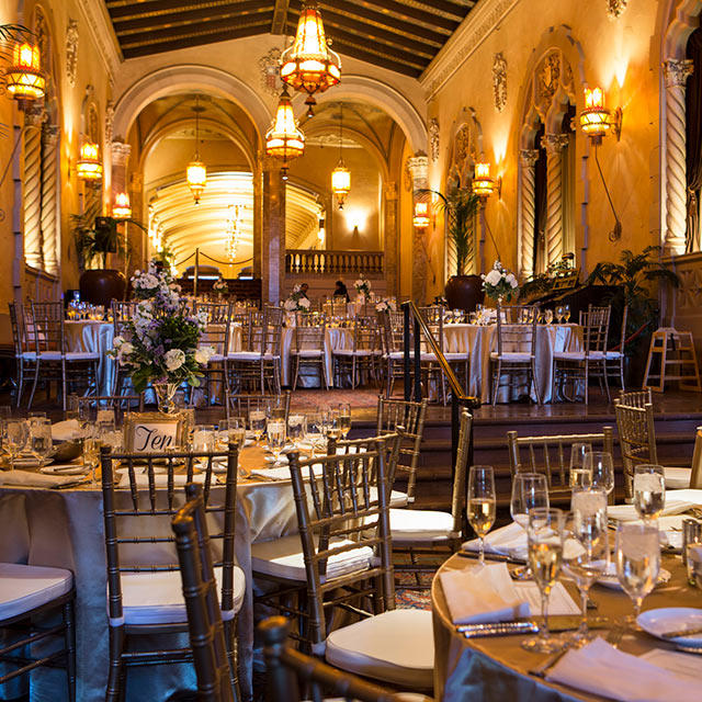 California Theatre's gold-embellished lobby set for an elegant reception